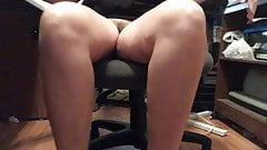 Wife flashing hairy pussy in the office