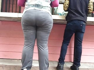 Thick firm ghetto Booty in Taco Line GREY SWEATS