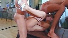 Skinny blonde takes an assfuck with three guys and eats cum