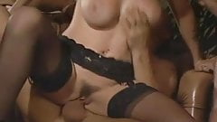 The busty beautiful Asia D'Argento fucks two guys