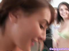Cocksucking college babes pussy fuck in dorm