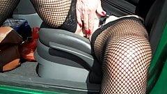 Slut playing in car