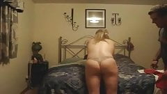slut danielle spanked bad in her own bed
