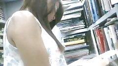 boso voyeur teen upskirt on a bookstore with a friend