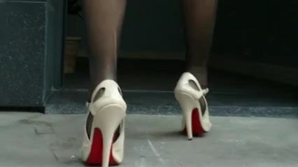 High-heels sandals and nylon feet