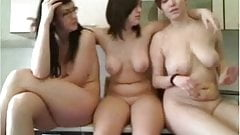 Three girls next door dancing in the kitchen