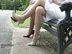 Erotic high heel ladies tease feet legs fetish in stilettos