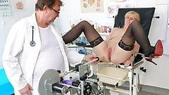 Horny granny's gyno exam and fucking machine orgasm