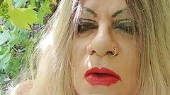 slutty red lipstick shemale smoking outside