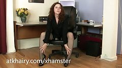 Fiona getting horny after a business call and masturbates