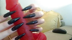 long black nails handjob dildo