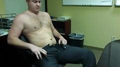 hung bear naked at the office