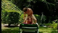 Cute young blonde girl loves to suck a giant dick outside before doggy fuck
