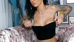 Very HOT horny brunette milf show her body on webcam