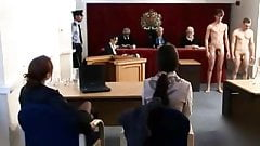 Strapon fucked in the courtroom
