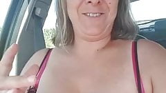 MILF Shows Titties In The Car