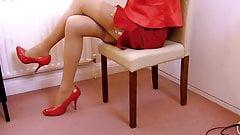 Virgin Air Hostess Uniform With Tan Stockings