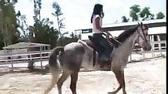 Topless Asian Teen Riding A Horse