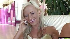 Blonde teen caught peeping on her stepdad