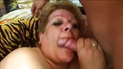 Fat mature sucks young cock