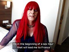 redhead Tgirl sucks cock