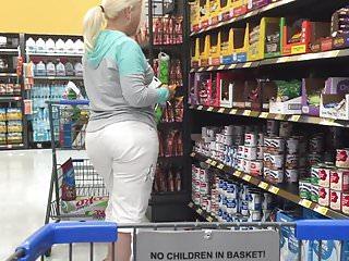 Mature white bbw white pants candid