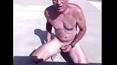 mature dad jerks in his driveway