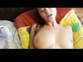 Stunning busty girl does anal! Cumshot on her back