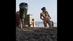 Beach big tit blond