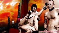 Busty goth babes enjoy in foursome