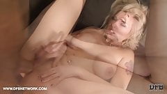 Blonde milf fucked by two big black cocks in threesome