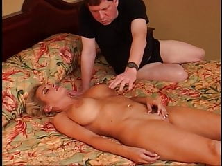 Girl rubbing clit before fucking two guys