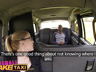 Female Fake Taxi Back seat busty blowjob for lucky stud