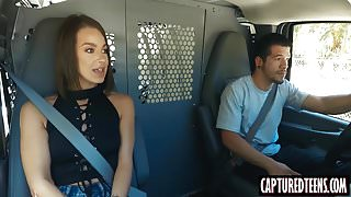 Hot brunette teen Evelin Stone gets captured and fucked