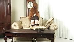 Gorgeous Redhead French Maid bending over cleaning with thogn showing then strips and cums at work