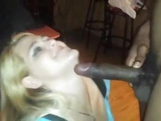 Black guy cums on blonde with tongue ring