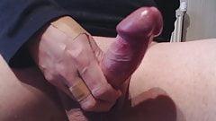 My solo 193 (Closeup of smooth throbbing cock head cumming)