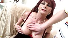 Granny super whore takes young big cock