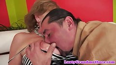 Busty granny pleasured by her lovers cock
