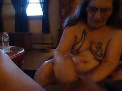 masturbating my man jacking off his cock makes  my cunt cum