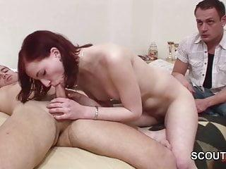 He get Cuckold because Skinny Girlfriend fuck Stranger