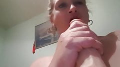 Wife playing with her 10inch dildo