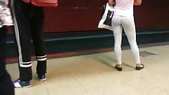 candid white leggings sexy ass