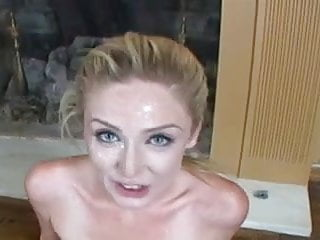 Close Up Blue Eyed Blond Gets Lots of Cum