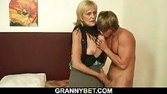 Granny prostitute sucks and rides his cock