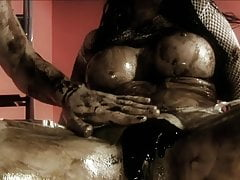Fit dude fucks busty brunette covered in chocolate sauce