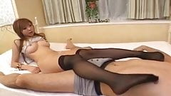 Yui Hayama Asian babe in stockings gets wet pussy drilled