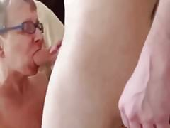 a granny is enjoying fuck withyoung guy with her Has.