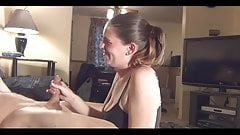 Girl watching a masturbating and helping