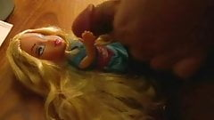 Small cock cumming on blonde Bratz doll